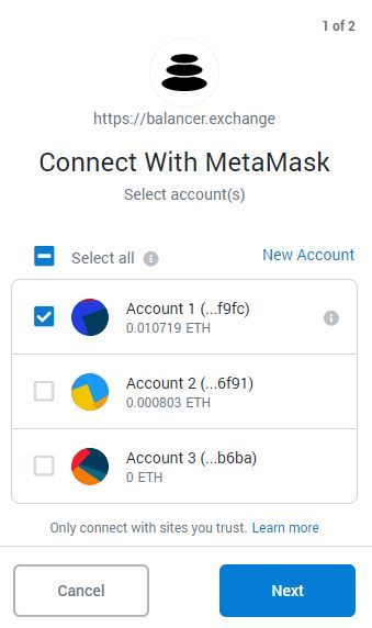 Balancer Exchange - Step 4 - Select the Wallet you wish to conenct in Metamask