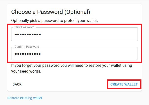 confirming password and creating wallet
